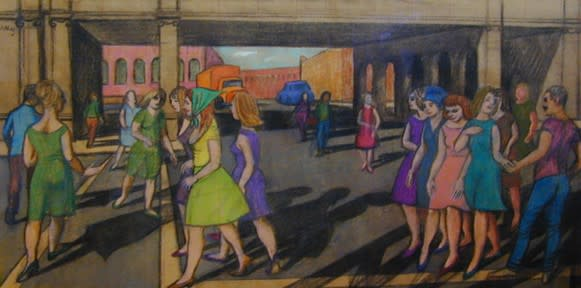 Philip Surrey, C.M., LL.D., R.C.A. 1910-1990Pedestrians - Piétons Mixed media 16 x 32 in 40.6 x 81.3 cm