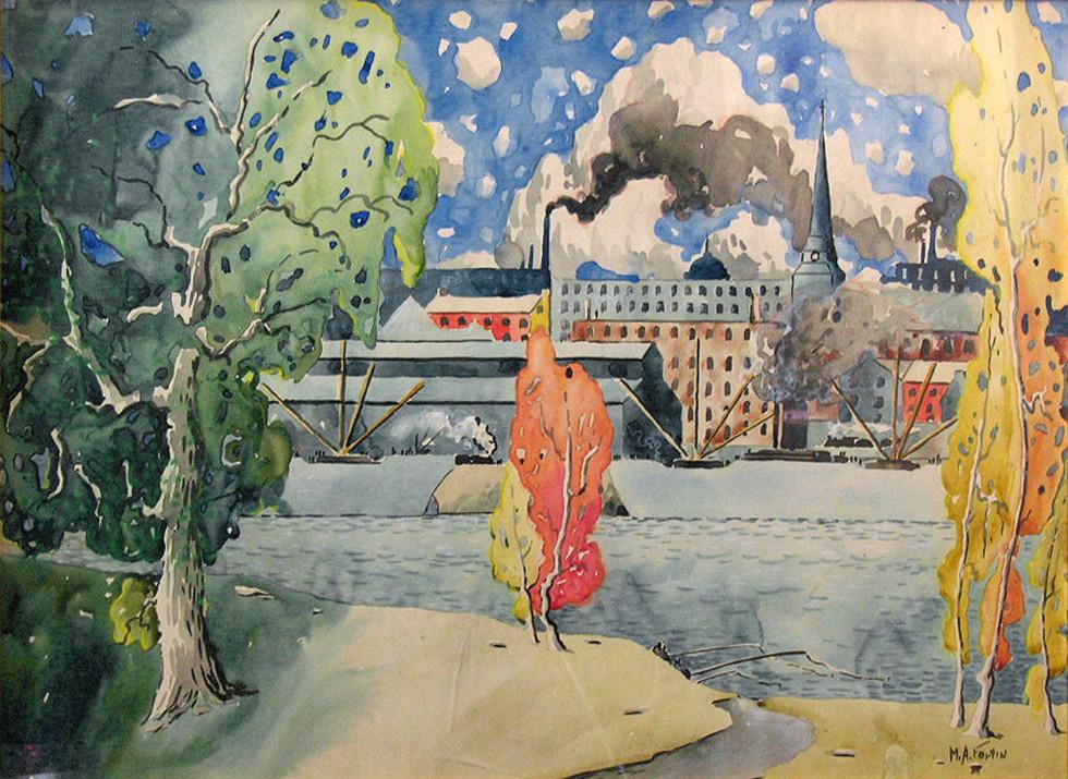 """Marc-Aurèle Fortin, A.R.C.A., Montréal, vue de L'Île Ste-Hélène Watercolour  19 ¼"""" x 26"""""""