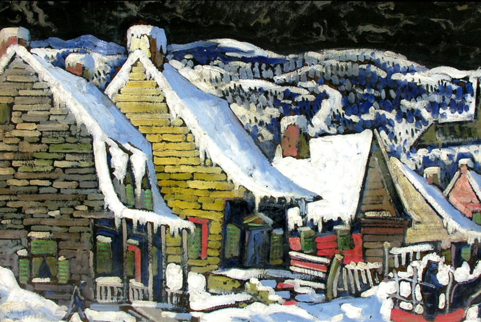 "Marc-Aurèle Fortin, A.R.C.A. 1888-1970Hiver, Baie St-Paul Oil on panel 19"" x 28"""