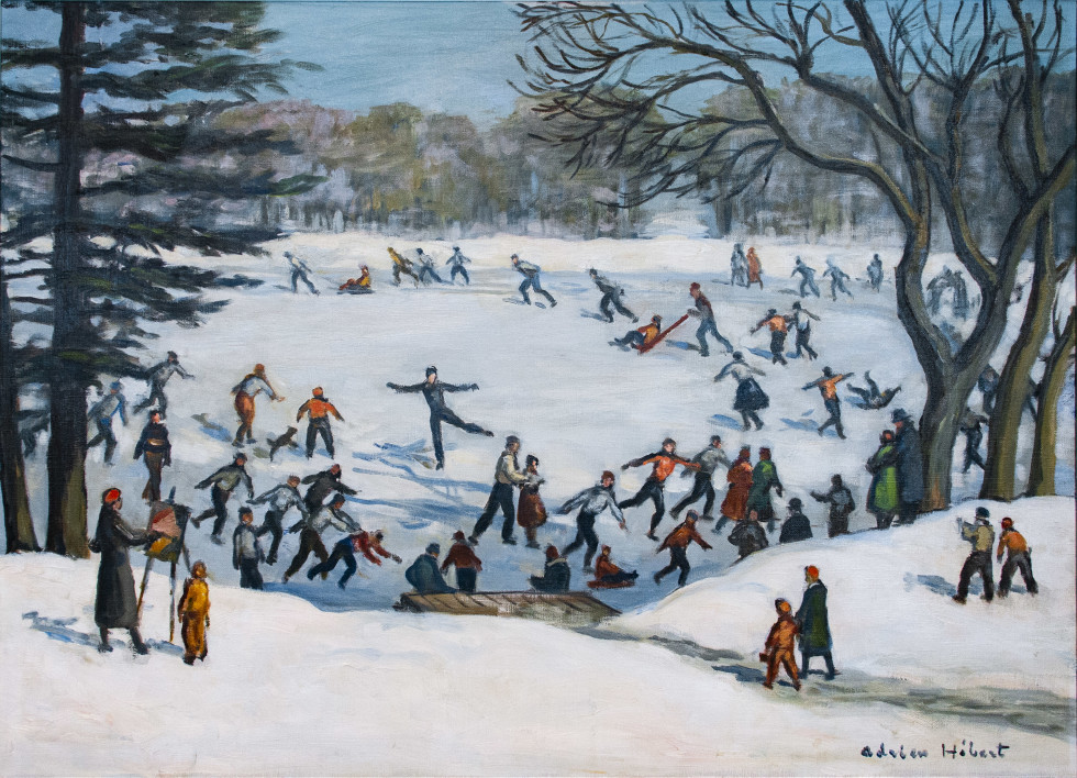 Adrien Hébert, R.C.A., Patinage au parc La Fontaine, Montréal, 1936 (circa) Oil on canvas - Huile sur toile 26 3/4 x 37 1/4 in 67.9 x 94.6 cm
