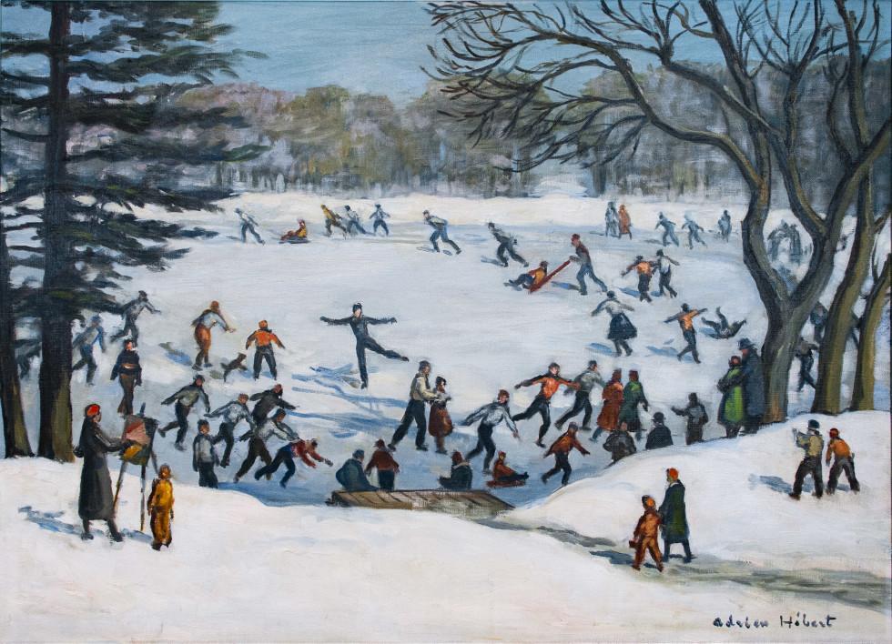 Adrien Hébert, R.C.A., Patinage au parc Lafontaine, Montréal, 1936 (circa) Oil on canvas - Huile sur toile 26 3/4 x 37 1/4 in 67.9 x 94.6 cm