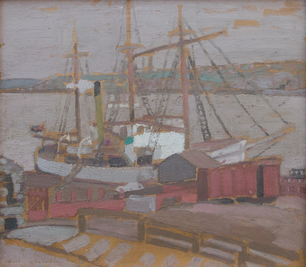 Albert H. Robinson, R.C.A. 1881-1956Quebec Harbour - Port de Québec Signed l.l. Albert Robinson / Signée Albert Robinson Oil on panel - Huile sur panneau 11 1/4 x 13 in 28.6 x 33 cm