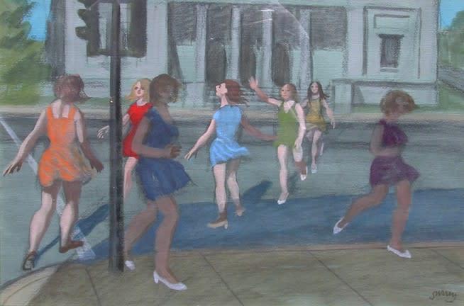 Philip Surrey, C.M., LL.D., R.C.A. 1910-1990Museum Girls - Les jeunes filles du musée, 1973 (circa) Pastel & gouache 12 x 15 in 30.5 x 38.1 cm